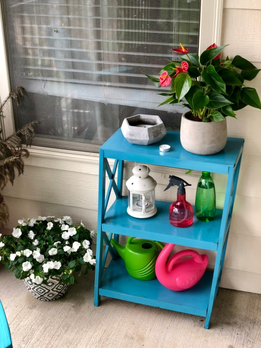 Impatiens (blue and white vase), anthuriums (gray vase), citronella candle, lantern, water cans, and spray bottles.